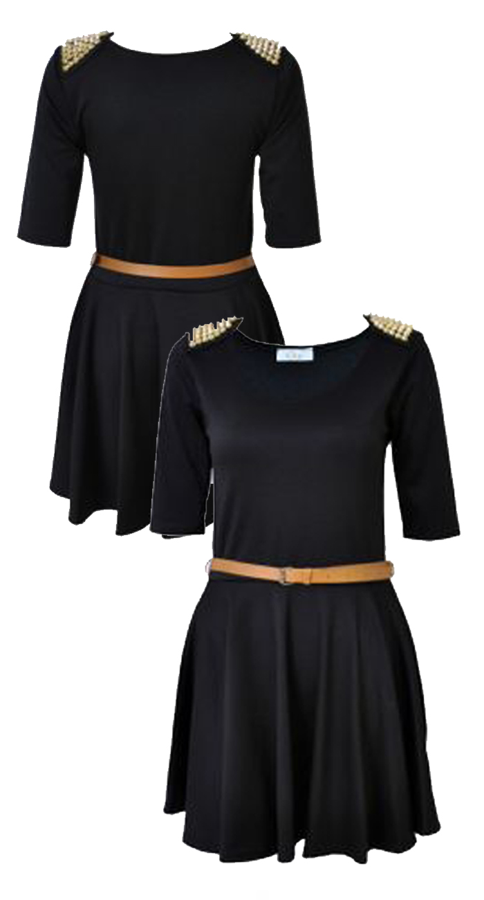 black studded shoulder skater dress with free belt